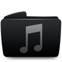 Black, Folder, Itunes, Music Icon