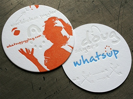 letterpress,round shaped business card