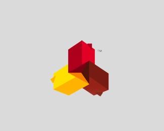 3d,construction,blocks,colorful logo