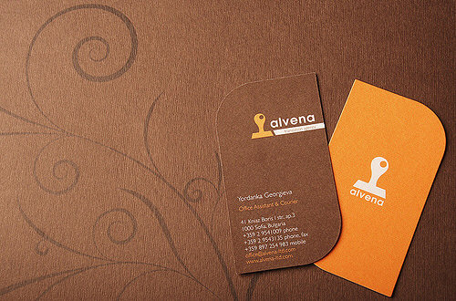 brown,creative,round corner business card