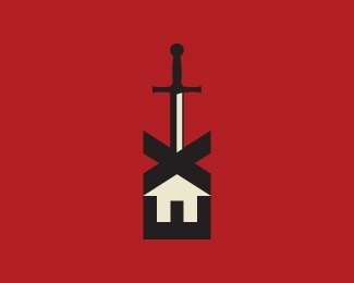 home,house,sword,real estate,realty logo